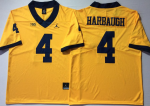 Michigan Wolverines Yellow #4 Jim Harbaugh College Jersey