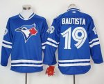 mlb toronto blue jays #19 jose bautista blue long sleeve jerseys