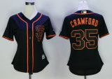 women mlb san francisco giants #35 brandon crawford majestic black new cool base jerseys
