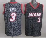 nba miami heat #3 wade black leopard print [2014 new]