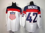 nhl team usa olympic #42 backes white jerseys [2014 winter olymp