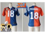 women nike denver broncos #18 peyton manning orange blue super bowl xli & super bowl 50 split colts jerseys