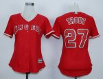 women mlb los angeles angels #27 mike trout red majestic cool base jerseys
