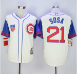 mlb chicago cubs #21 sammy sosa creamblue 1942 turn back the clock jerseys