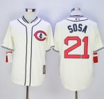 mlb chicago cubs #21 sammy sosa cream 1929 turn back the clock jerseys