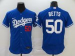 Men's Los Angeles Dodgers #50 Mookie Betts Roaly 2020 Stitched Baseball Jersey