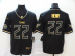 Football Tennessee Titans #22 Derrick Henry Limited Black Golden Edition Jersey