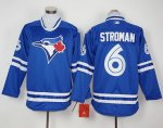 mlb toronto blue jays #6 marcus stroman blue long sleeve jerseys