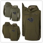 Football Los Angeles Rams Olive Salute to Service Sideline Therma Performance Pullover Hoodie