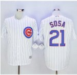 mlb majestic chicago cubs #21 sammy sosa white new cool base jerseys [blue stripe]