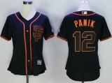women mlb san francisco giants #12 joe panik majestic black new cool base jerseys