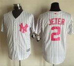 Men MLB New York Yankees #2 Derek Jeter White Strip 2016 Mother's Day Stitched Cool Base Jersey
