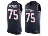 Men's Nike Houston Texans #75 Vince Wilfork Navy Blue Team Color Stitched NFL Limited Tank Top Jersey