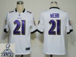 2013 super bowl xlvii nike baltimore ravens #21 webb white [game