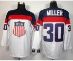 nhl team usa olympic #30 miller white jerseys [2014 winter olymp
