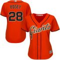 customed women mlb san francisco giants #28 buster posey majestic orange new cool base jerseys