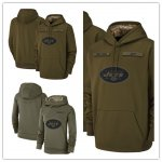Football New York Jets Olive Salute to Service Sideline Therma Performance Pullover Hoodie