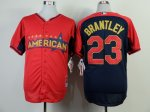 mlb cleveland indians #23 brantley red-blue [2014 all star jerse