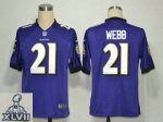 2013 super bowl xlvii nike baltimore ravens #21 webb purple [gam