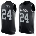 men nike oakland raiders #24 marshawn lynch black team color tank top stitched nfl limited jersey