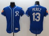 Baseball Kansas City Royals #13 Salvador Perez Royal 2018 Spring Training Flex Base Jersey and Cool Base Jersey