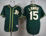 Athletics #15 Brett Lawrie Green Cool Base Stitched MLB Jersey