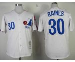 mlb montreal expos #30 tim raines m&n white jerseys