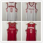 Men's Houston Rockets #0 Russell Westbrook Stitched Basketball Jerseys