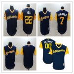 Baseball Milwaukee Brewers Majestic Navy Yellow 2018 Players' Weekend Jersey