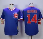 mlb chicago cubs #14 ernie banks blue cooperstown stitched jerseys