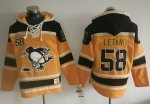 Penguins #58 Kris Letang Gold Sawyer Hooded Sweatshirt Stitched NHL Jersey