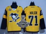 Men Pittsburgh Penguins #71 Evgeni Malkin Gold 2017 Stadium Series Stanley Cup Finals Champions Stitched NHL Jersey