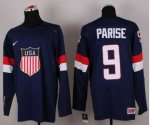 nhl team usa olympic #9 parise blue jerseys [2014 winter olympic