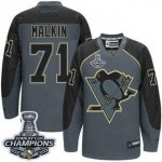 Men Pittsburgh Penguins #71 Evgeni Malkin Charcoal Cross Check Fashion 2017 Stanley Cup Finals Champions Stitched NHL Jersey
