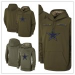 Football Dallas Cowboys Olive Salute to Service Sideline Therma Performance Pullover Hoodie