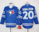 mlb toronto blue jays #20 josh donaldson blue long sleeve jerseys