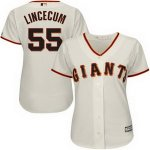 customed women mlb san francisco giants #55 tim lincecum majestic cream new cool base jerseys