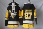 Men NHL Pittsburgh Penguins #87 Sidney Crosby Black Alternate Sawyer Hooded Sweatshirt Stitched NHL Jersey
