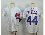 youth mlb chicago cubs #44 anthony rizzo white majestic cool base jerseys [blue strip]