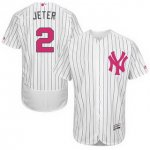 Men MLB New York Yankees #2 Derek Jeter White Strip 2016 Mother's Day Stitched Flexbase Authentic Collection Jerseys