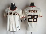 women mlb san francisco giants #28 buster posey majestic cream new cool base jerseys