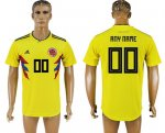 Custom Colombia 2018 World Cup Soccer Jersey Yellow Short Sleeves