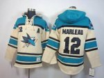 nhl san jose sharks #12 marleau green-cream [pullover hooded swe