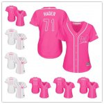 Women Milwaukee Brewers All Players Option Pink And White Fashion Stitched Baseball Jersey