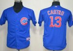 youth mlb chicago cubs #13 starlin castro blue cool base jerseys