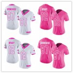 Women's Football New England Patriots Pink -White Rush Fashion Stitched Limited Jersey