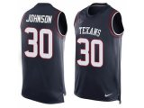 Men's Nike Houston Texans #30 Kevin Johnson Navy Blue Team Color Stitched NFL Limited Tank Top Jersey
