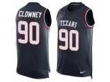 Men's Nike Houston Texans #90 Jadeveon Clowney Navy Blue Team Color Stitched NFL Limited Tank Top Jersey