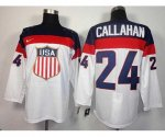 nhl team usa olympic #24 callahan white jerseys [2014 winter oly