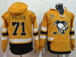 Penguins #71 Evgeni Malkin Gold Sawyer Hooded Sweatshirt 2017 Stadium Series Stitched NHL Jersey